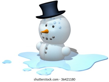 melting snowman with black hat