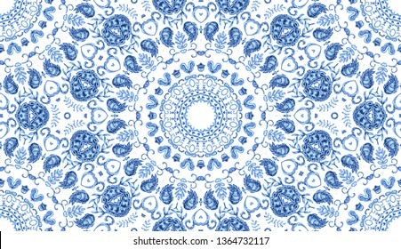 Melting watercolor colorful symmetrical pattern for textile, porcelain ceramic tiles and design. Vintage decorative element with mandala. Hand drawn background. Islam, arabic indian, ottoman motifs.