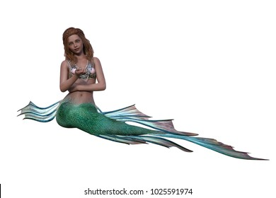 Memaid sitting with tail to the side. 3D illustration isolated on white background.