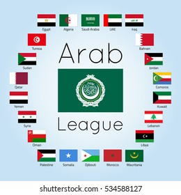 Member states of AL, set of country flags (League of Arab States, international regional organization), raster illustration, flat icons. Image for infographic design, website, banner, presentation