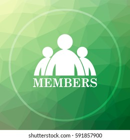 Members icon. Members website button on green low poly background.