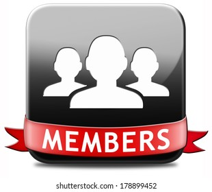 members only restricted area black icon sign or sticker become a member and join here to get your membership application label or button.