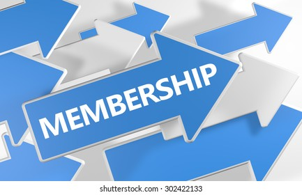 Membership - 3d render concept with blue and white arrows flying over a white background.