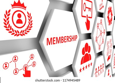 MEMBERSHIP concept cell background 3d illustration