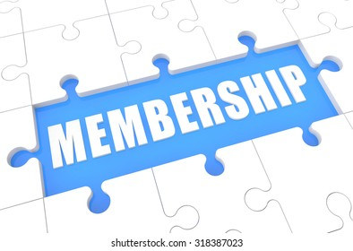 Membership - puzzle 3d render illustration with word on blue background