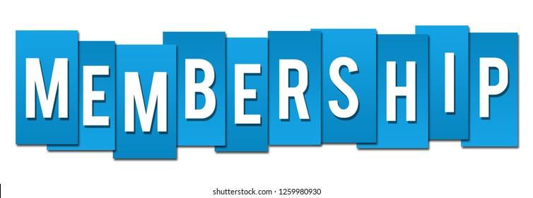 Membership text written over blue background.