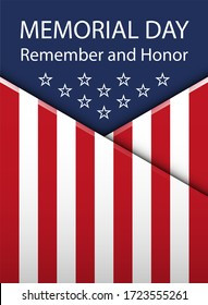 Memorial Day background.  illustration with text, stars and ribbon for posters, decoration. White text