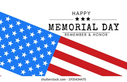 Memorial Day Banner illustration, USA flag waving with stars on bright background.