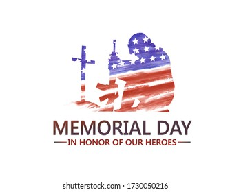"""Memorial Day celebration with American Flag in praying soldier shape. Text """"Memorial Day - in honor of our Heroes"""" on white background"""