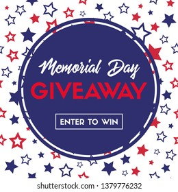 Memorial day giveaway. Banner template for social media contest. Raster version
