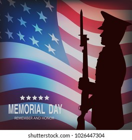 Memorial day. Greeting card with flag and soldier on background.