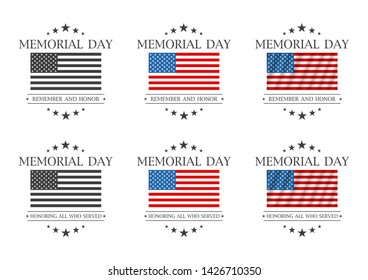 Memorial day. Remember and honor or Honoring all who served text