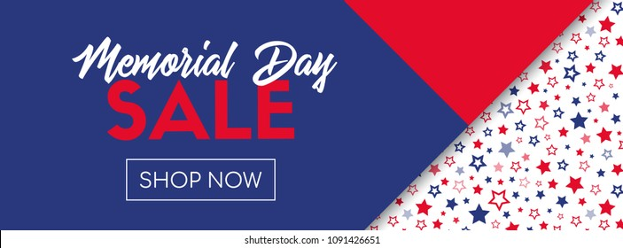 Memorial day sale banner. Online shopping template. Raster version