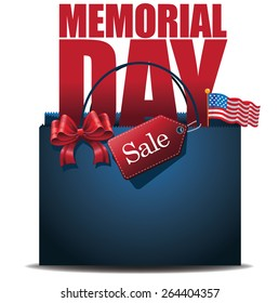 Memorial Day Sale shopping bag background royalty free stock illustration for greeting card, ad, promotion, poster, flier, blog, article, ad, marketing, retail shop, brochure, signage