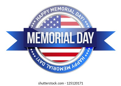 memorial day. us seal and banner illustration design