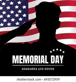 Memorial Day USA. Remember and honor.  illustration. The soldier salutes. Silhouette of a military man.