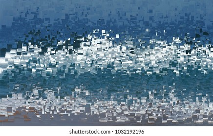 memories stopped, tribute to Pollock, abstract expressionism, art, digital, abstract illustration with mosaic effects of gradient colors white, blue, grey,