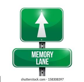 memory lane road sign illustration design over white