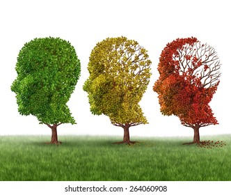 Memory loss and brain aging due to dementia and alzheimer's disease as a medical icon of a group of color changing autumn fall trees shaped as a human head losing leaves on a white background.