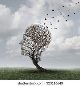 Memory loss concept and Alzheimer patient surreal symbol as a medical mental health care concept with an empty head shaped  tree and a group of birds shaped as a brain for dementia.