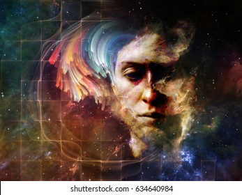 Memory of Me series. Background design of female portrait and space texture  on the subject of art, philosophy and spirituality