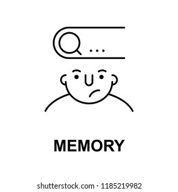 memory on mind icon. Element of human mind icon for mobile concept and web apps. Thin line memory on mind icon can be used for web and mobile on white background