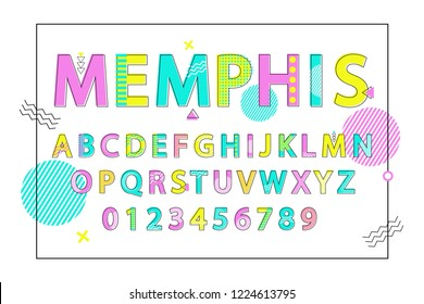 Memphis English alphabet bright colorful poster with letters and digits in square frame.  illustration on white decorated with doodles