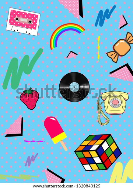 Memphis Group 80s Wallpaper Stock Illustration 1320843125