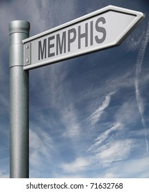 Memphis road sign clipping path isolated arrow pointing towards American city concept travel tourism holiday vacation culture destination route highway in United States of America USA