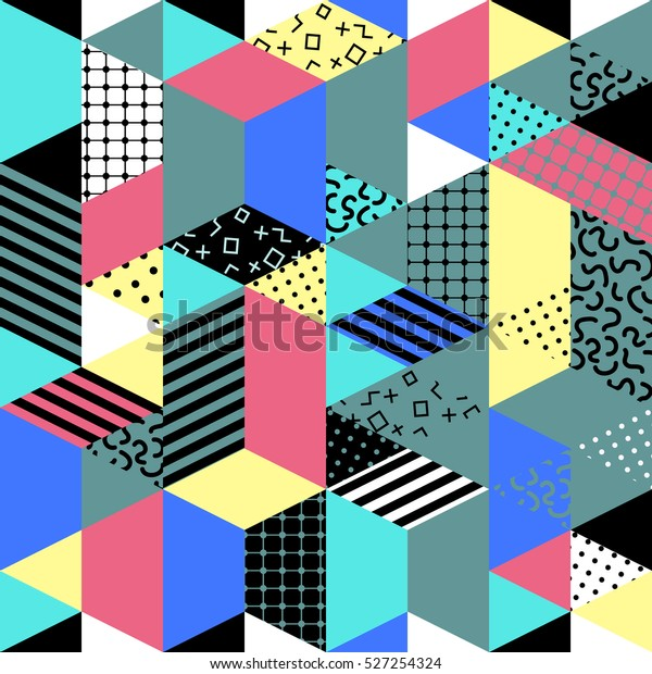 Memphis seamless pattern of geometric shapes. Abstract 1980-90 styles design. Trendy memphis style. Colorful geometric hipster poster background. illustration stock .