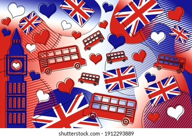 Memphis style background illustration of London, UK with big ben, Union Jack flag and double decker bus in red, white and blue colors.