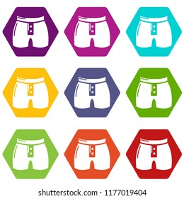 Men brief fashion icons 9 set coloful isolated on white for web