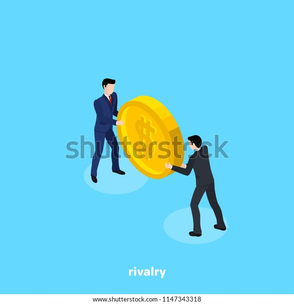 Men in business suits are fighting for a coin, isometric image