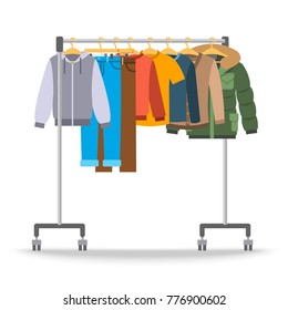 Men casual warm clothes on hanger rack. Flat style illustration. Male apparel hanging on shop rolling display stand. Winter and autumn outfit new fashion collection. Seasonal sale concept
