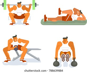 Men does the press exercises on gym background. Sport, training, gym, strong body and lifestyle concept. Rastered copy