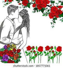 Men embrace beloved woman,holding beautiful rose bouquet.Line drawn,couple of love,decoration frame with colorful roses,wedding card,creative with illustration in flat design,free space for your text.