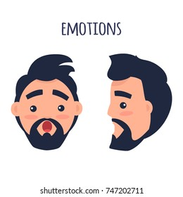 Men Emotions. Man with beard and pink cheeks surprised with open mouth. Face from two different angles of view isolated on white background. Cartoon shocked male character  illustration.