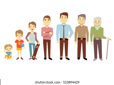 Men generation at different ages from infant baby to senior old man illustration. Teenager and young man, process aging