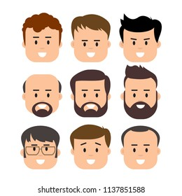 Men Male Human Face Head Hair Hairstyle Mustache Bald People Fashion. Design flat avatar for social media.  illustration.