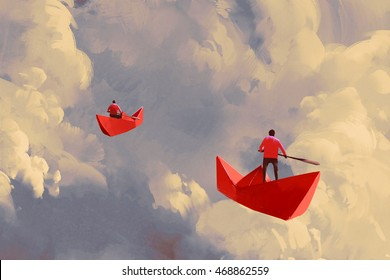 men on origami red paper boats floating in the cloudy sky,illustration painting