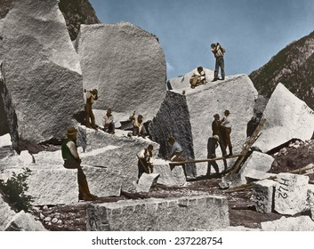 Men quarrying granite in Cottonwood Canyon for the Mormon Tabernacle, Photo by William Henry Jackson in 1872 with digital color.