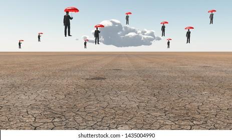 Men with red umbrellas float above desert landscape. 3D rendering