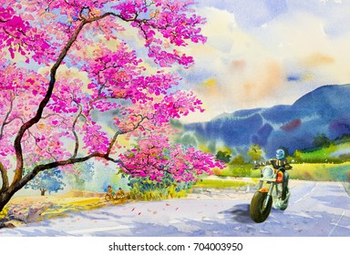 Men riding a motorbike, traveling, street view and pink flower of Wild himalayan cherry with emotion blue mountain,sky background. Watercolor painting illustration, beauty nature summer season.