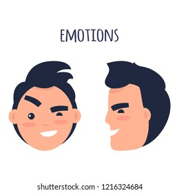 Men skeptic emotions concept. Brunette male face in full face and profile with sarcastic facial expression flat  isolated on white. Condemning man emotive portrait for icon, avatar illustration