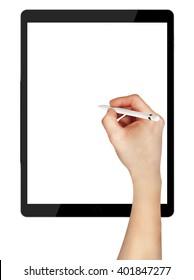 Men sketching using pencil on black tablet pro. 3d ilustration.