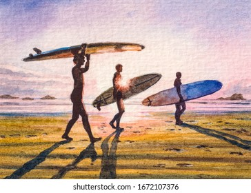 Men with surfboards. Surfing Board. Spring or summer vacations. Ocean beach. Beautiful Sunset. Watercolor Painting.