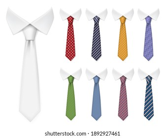 Men ties. Fabric clothes items for male wardrobe elegant style ties different colors and textures realistic mockup collection