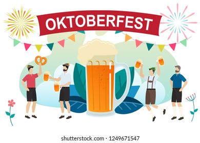 Men in traditional Bavarian clothes celebrate beer festival Oktoberfest. Friends in tracht and lederhosen have fun at the Oktoberfest.