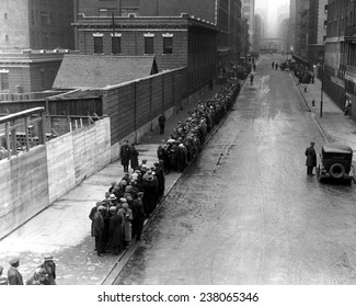 Men wait in line for food on East 25th Street New York City 1930