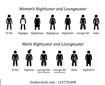 Men and women nightwear and loungewear fashion designs. Stick figures depict different type of sleepwear, pajamas, and clothing that wear at home or house.